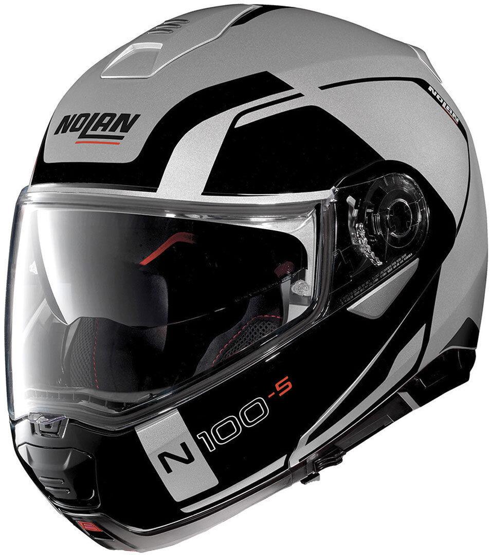 Nolan N100-5 Consistency N-Com Helmet  - Black Silver - Size: XS