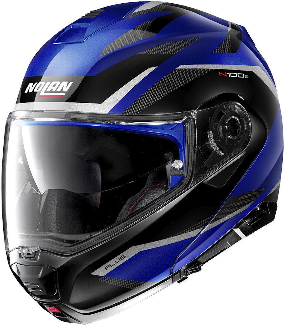 Nolan N100-5 Plus Overland N-Com Helmet  - Black White Blue - Size: 2XL