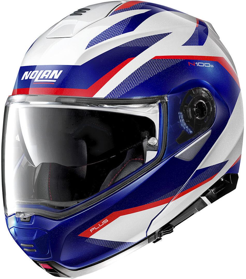 Nolan N100-5 Plus Overland N-Com Helmet  - White Red Blue - Size: XL
