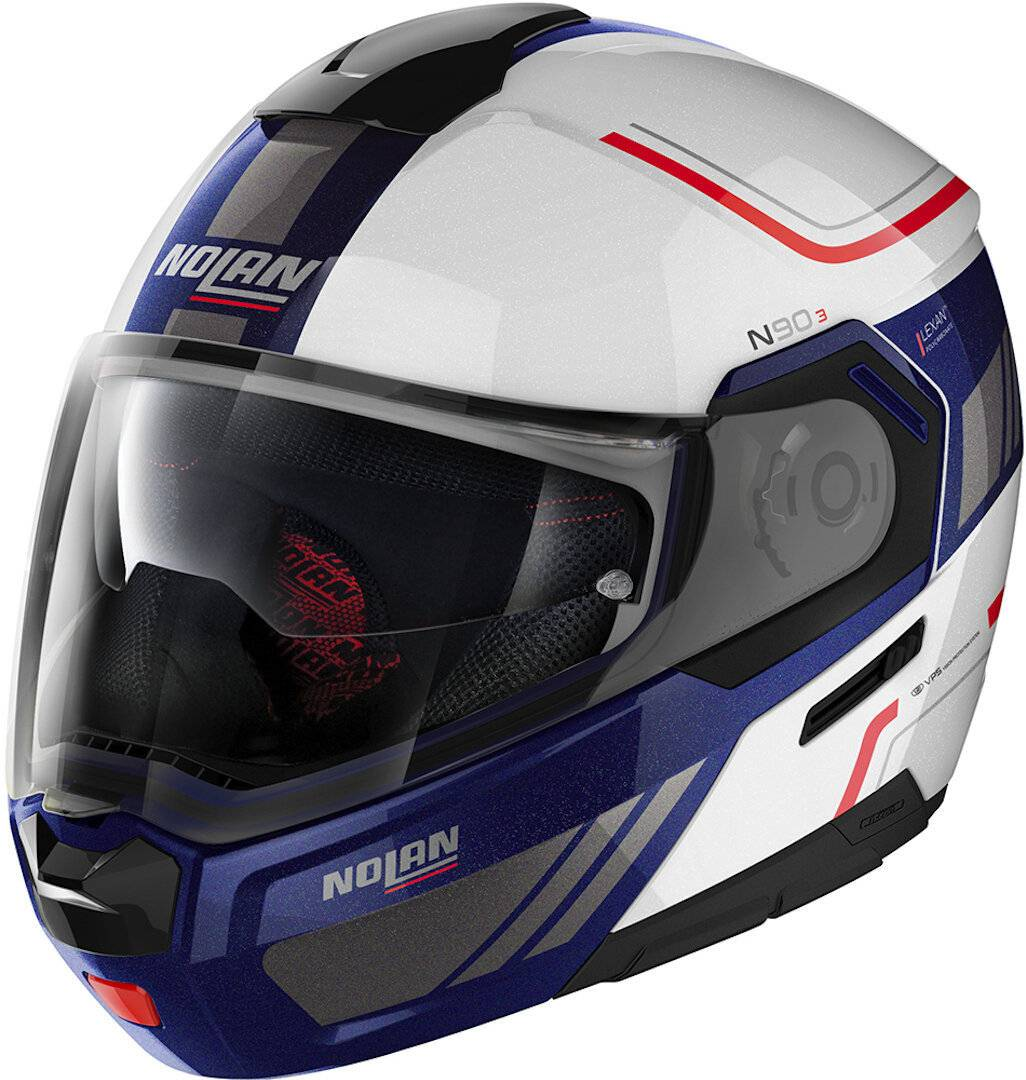 Nolan N90-3 Voyager N-Com Helmet  - White Red Blue - Size: 2XL