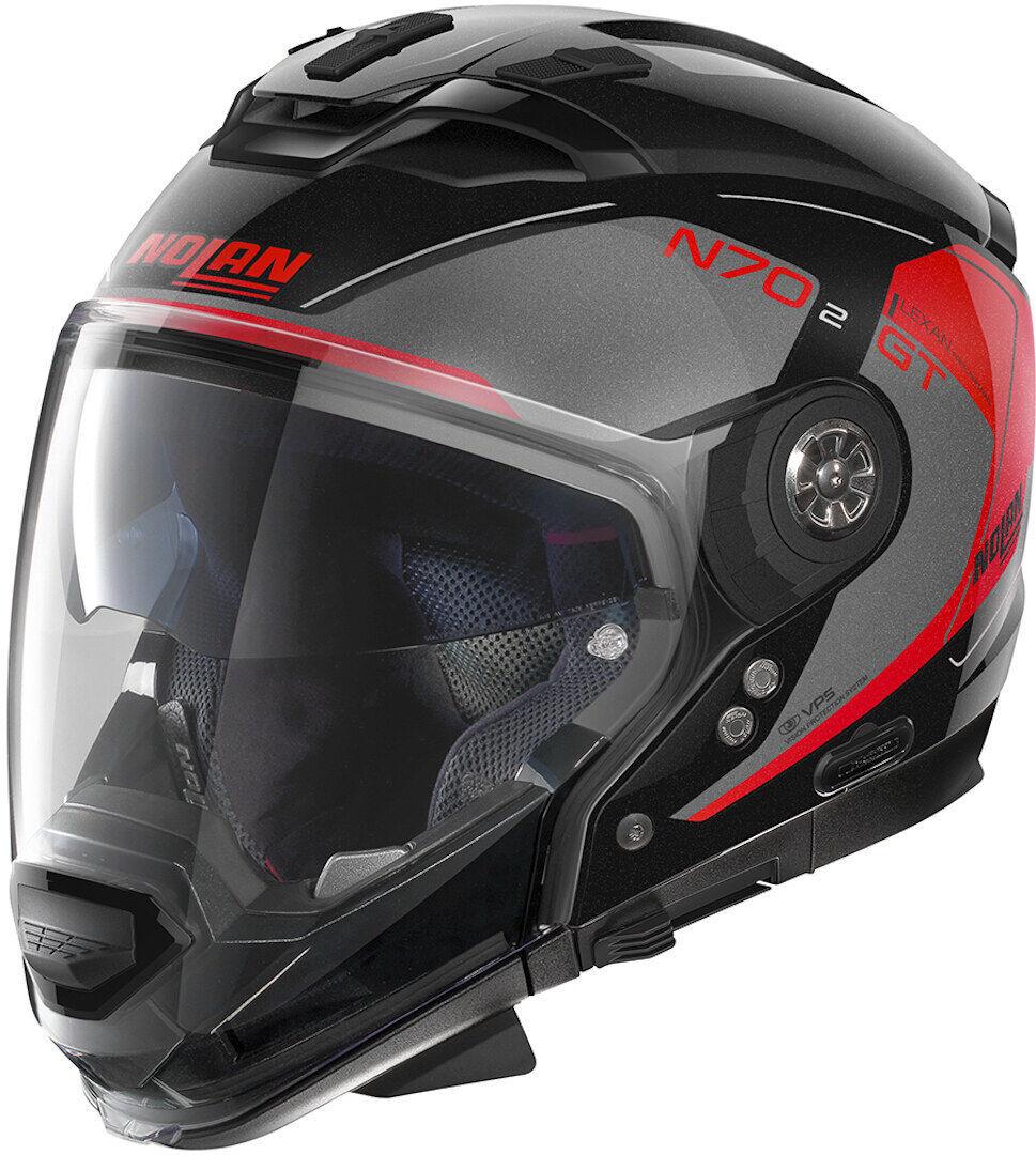 Nolan N70-2 GT Lakota N-Com Helmet  - Black Red - Size: XS