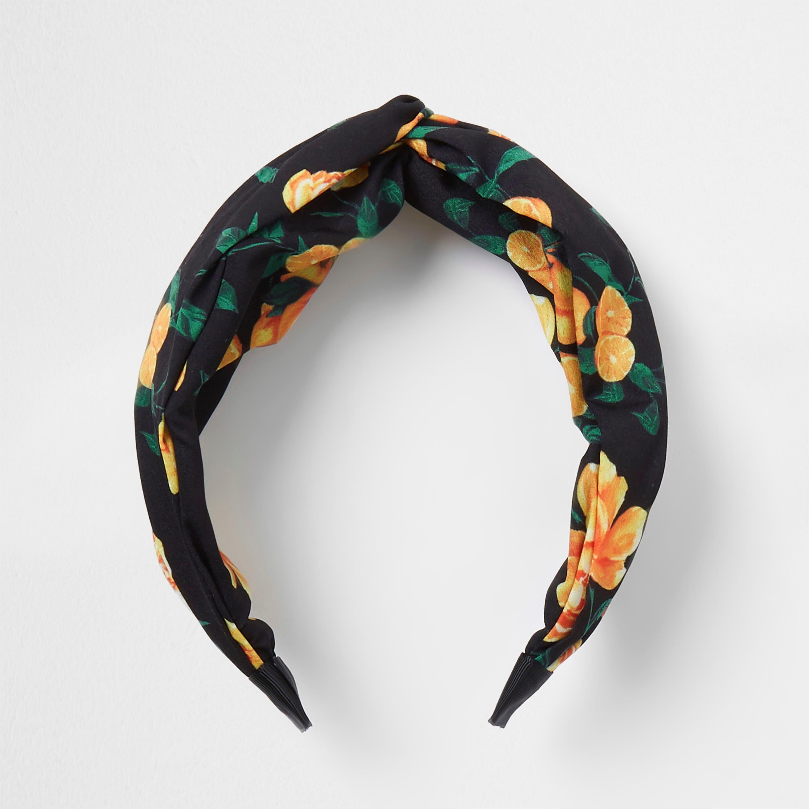 river island Womens Black Floral print knot headband (One Size)