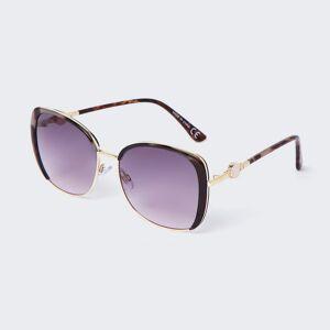river island Womens Brown tortoiseshell metal trim sunglasses (One Size)