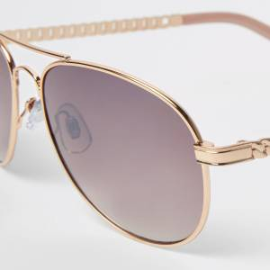 river island Womens Rose Gold pink lens chain aviator sunglasses (One Size)