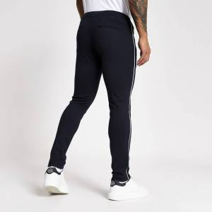 river island Mens Navy piped super skinny smart joggers (28S)