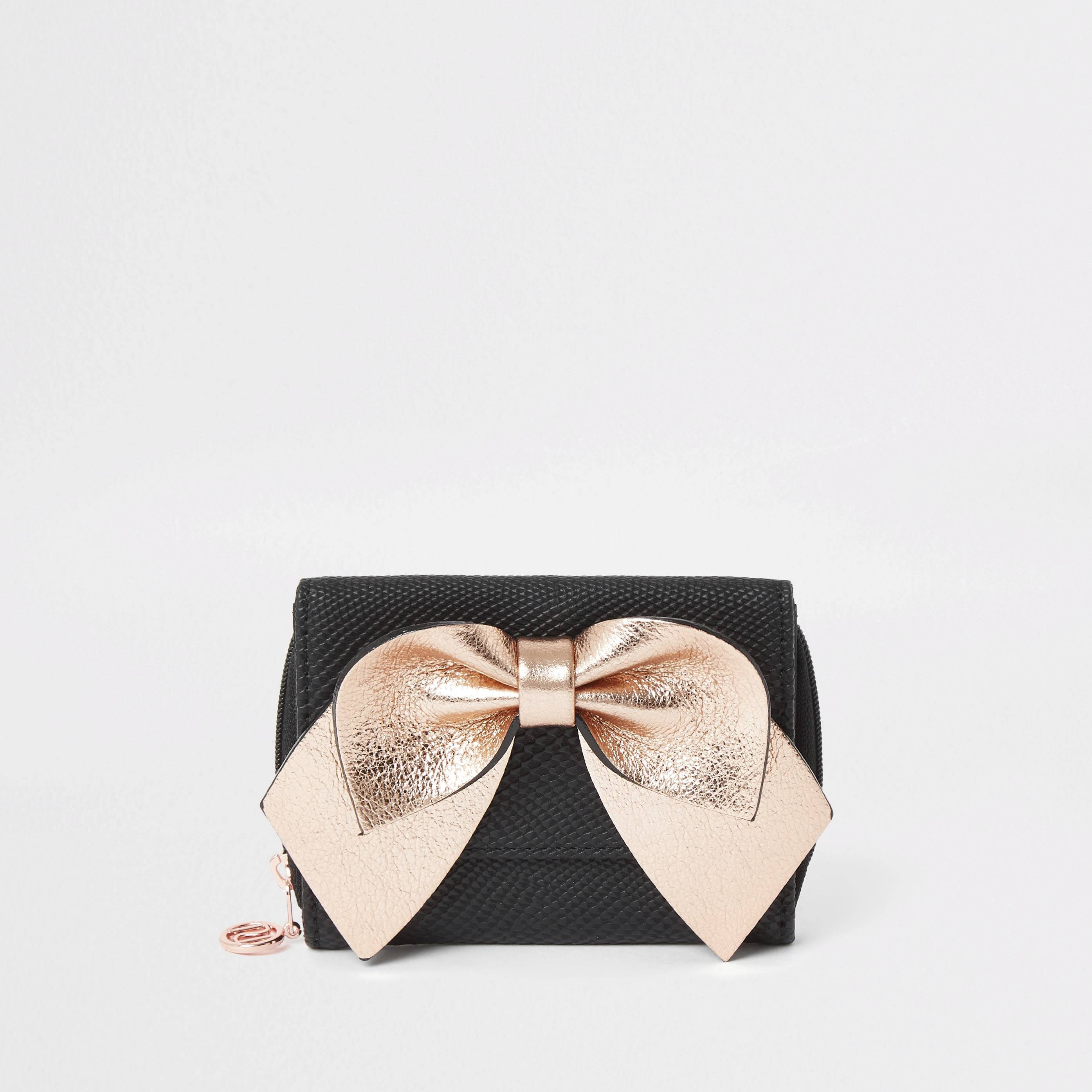 River Island Girls Black pink bow trifold purse (One Size)