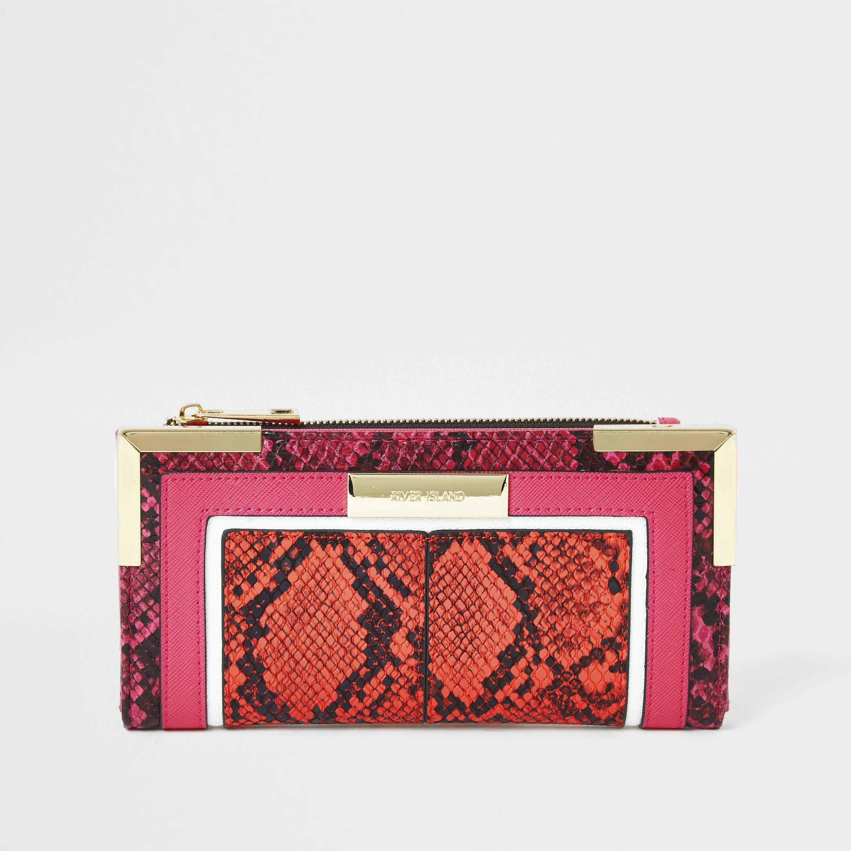 River Island Womens Bright Orange snake embossed fold out purse (One Size)