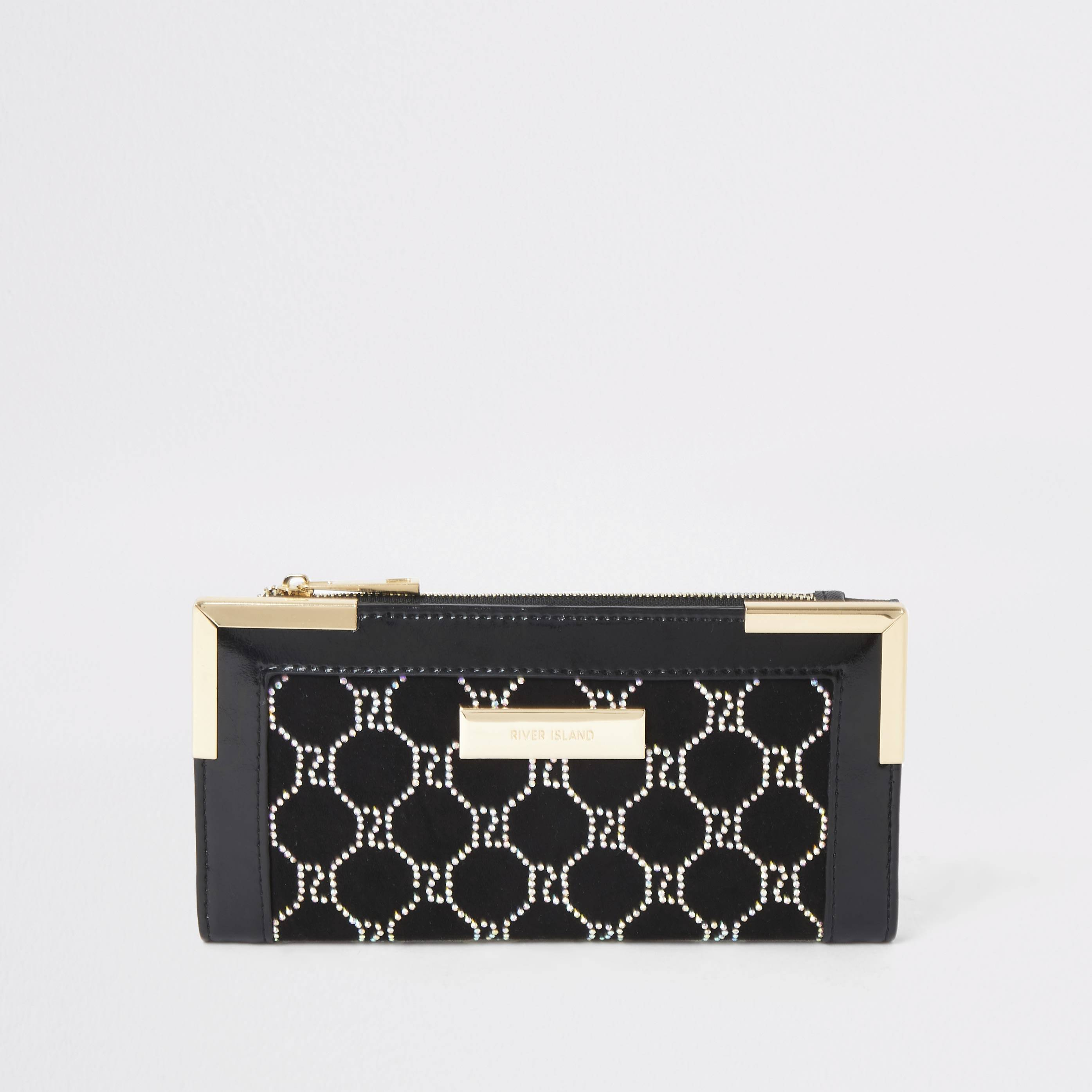 River Island Womens Black embellished foldout metal corner purse (One Size)