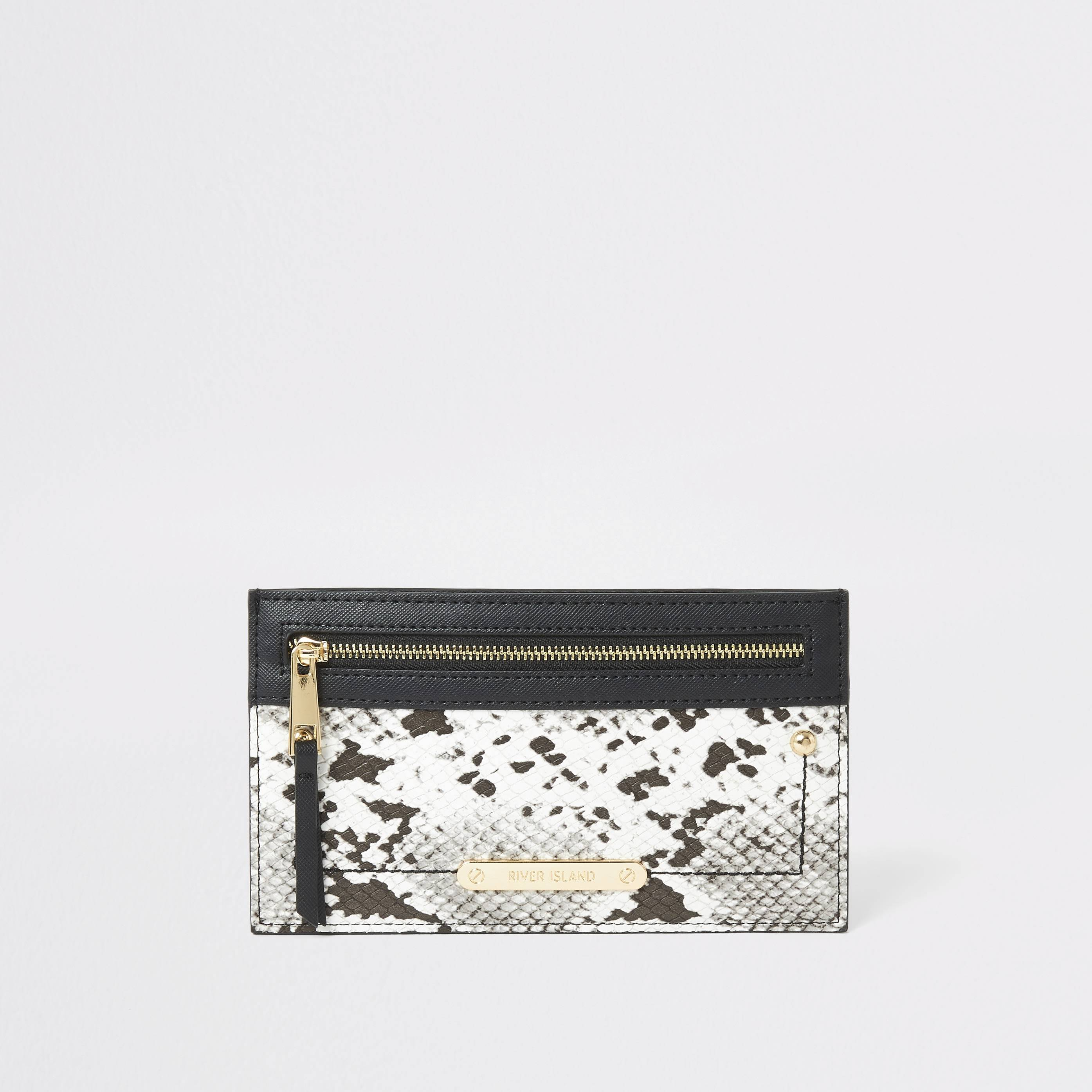 River Island Womens Grey snake printed card holder pouch purse (One Size)