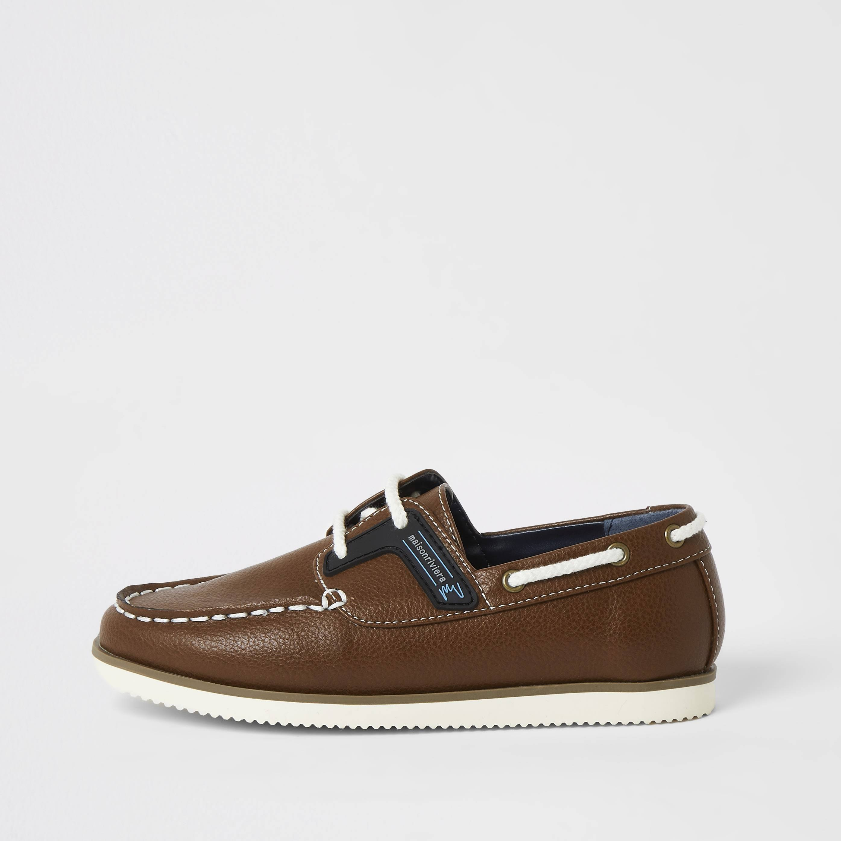 river island Boys light Brown lace-up boat shoes (c13)