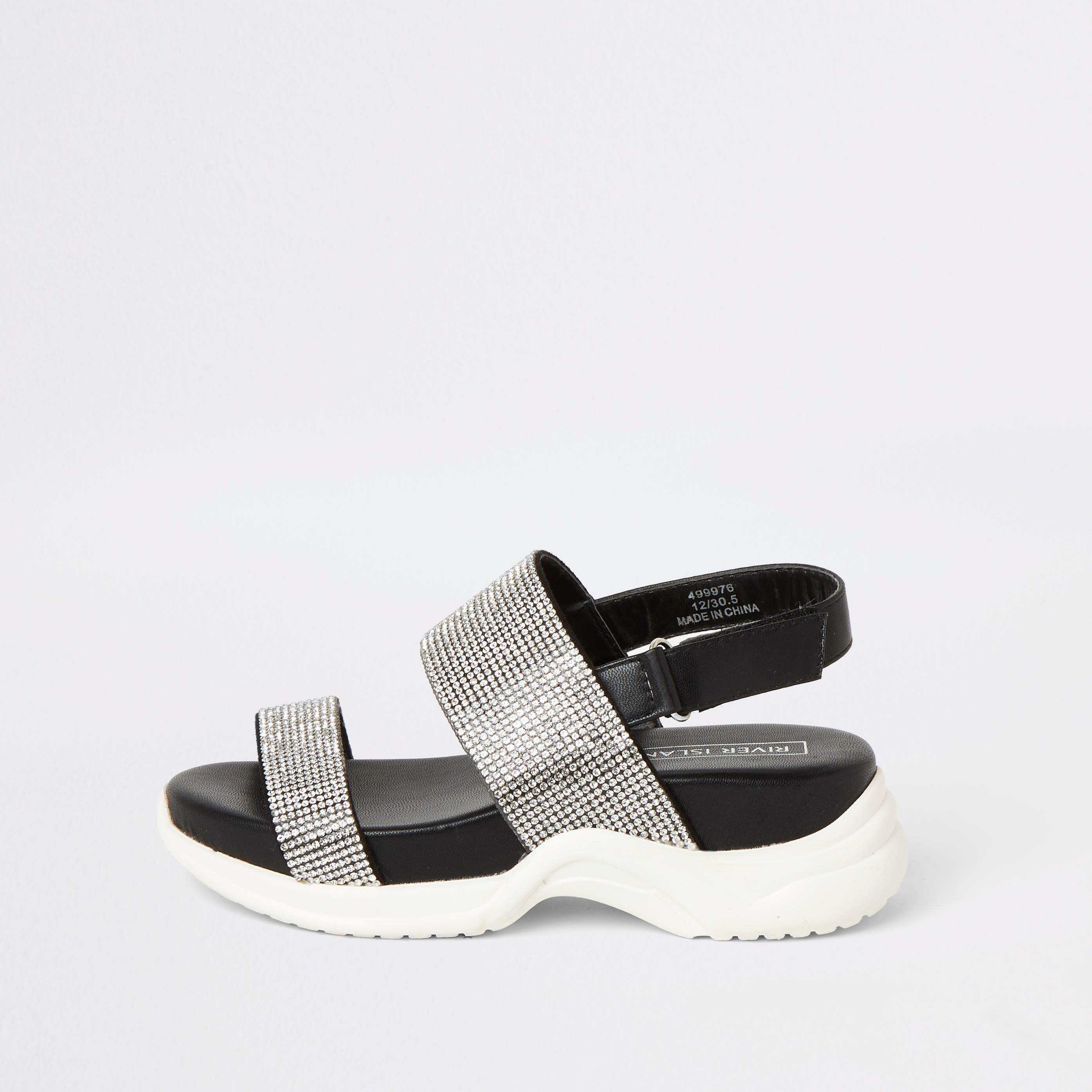 River Island Girls Black diamante chunky sole sandals (1)