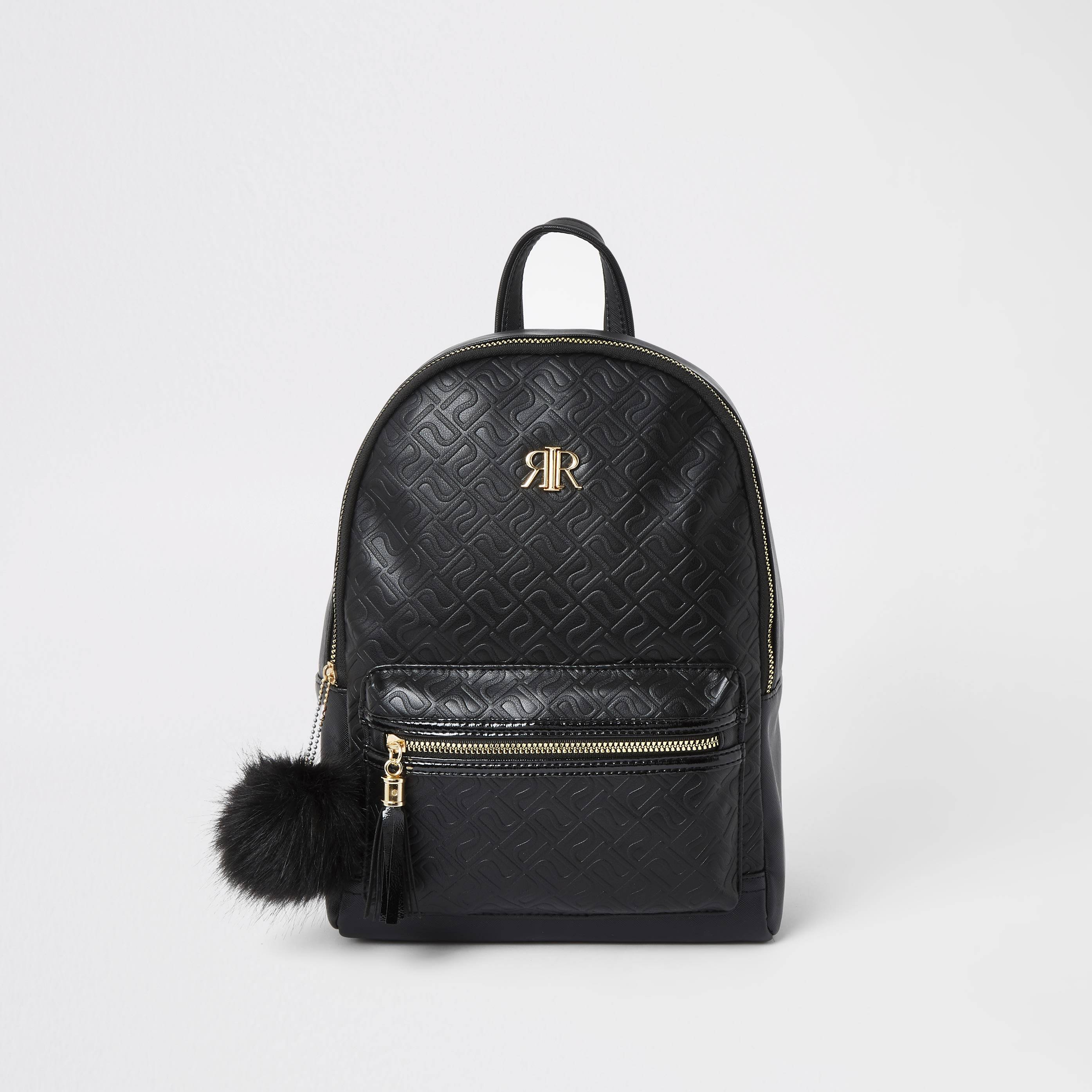 River Island Girls Black RI monogram backpack (One Size)