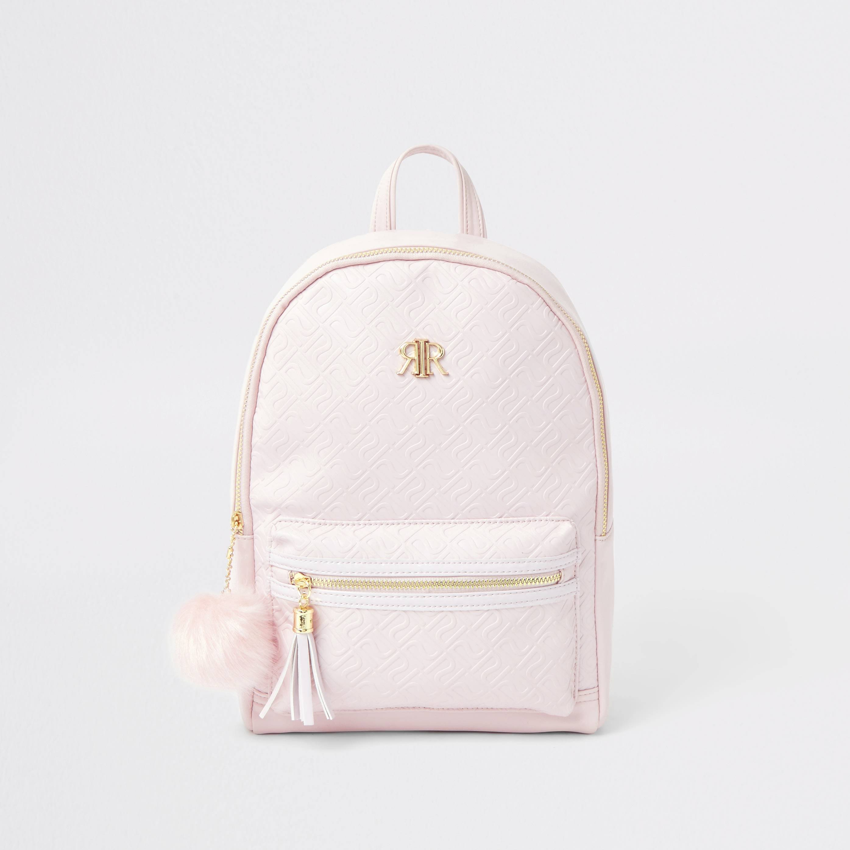 River Island Girls Pink RI monogram backpack (One Size)