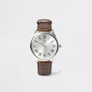 river island Mens Brown strap silver tone smart watch (One Size)