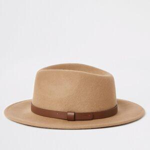 river island Mens Camel Fedora hat (One Size)