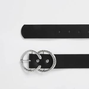 river island Womens Black silver textured horseshoe belt (S)