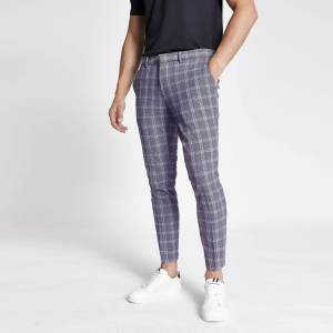 river island Mens Navy check super skinny cropped trousers (38R)