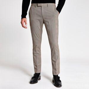 river island Mens Ecru check stretch skinny suit trousers (26R)