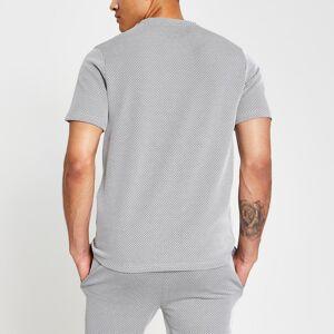 maison riviera Mens Maison Riviera Blue textured slim fit T-shirt (L)