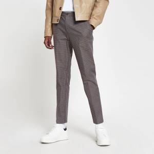 river island Mens Brown check super skinny fit trousers (32L)