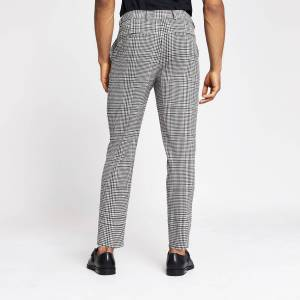 river island Mens Grey check tapered fit smart trousers (28R)
