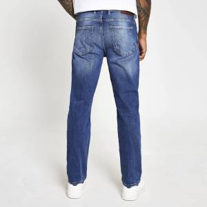 river island Mens Blue mid wash Dean straight fit jeans (38R)