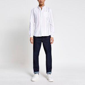 river island Mens Ecru stripe short sleeve regular fit shirt (S)