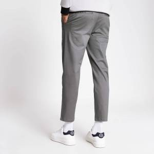 river island Mens Grey single pleat tapered fit trousers (38R)