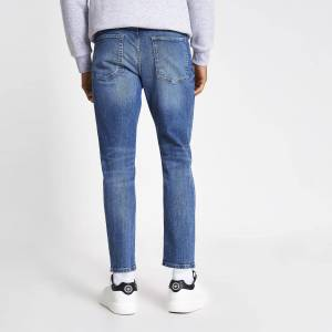 river island Mens Blue Jimmy tapered cropped jeans (38R)