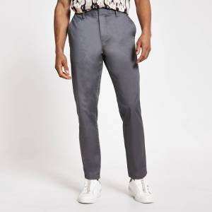 river island Mens Grey slim fit chino trousers (38R)