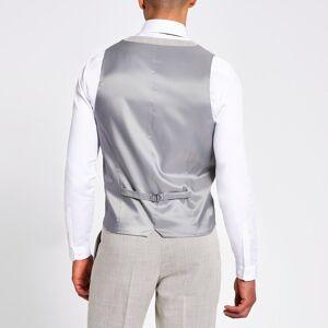 river island Mens Ecru textured slim fit suit waistcoat (40)
