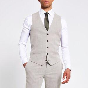 river island Mens Ecru textured slim fit suit waistcoat (36)