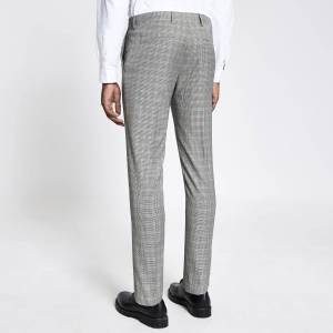 river island Mens Brown heritage check skinny fit suit trousers (30L)
