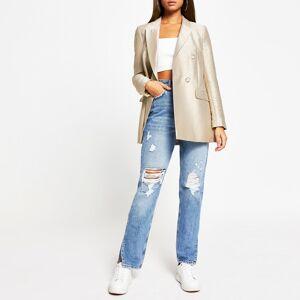river island Womens Beige metallic structured long sleeve blazer (16)