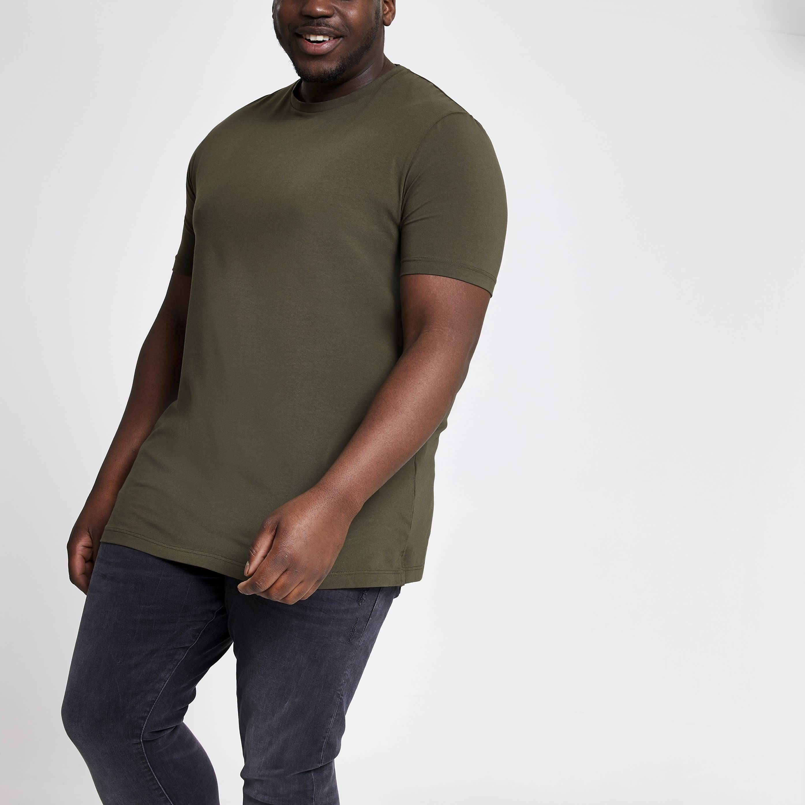 River Island Mens Big and Tall dark Green muscle fit T-shirt (XXXXXL)