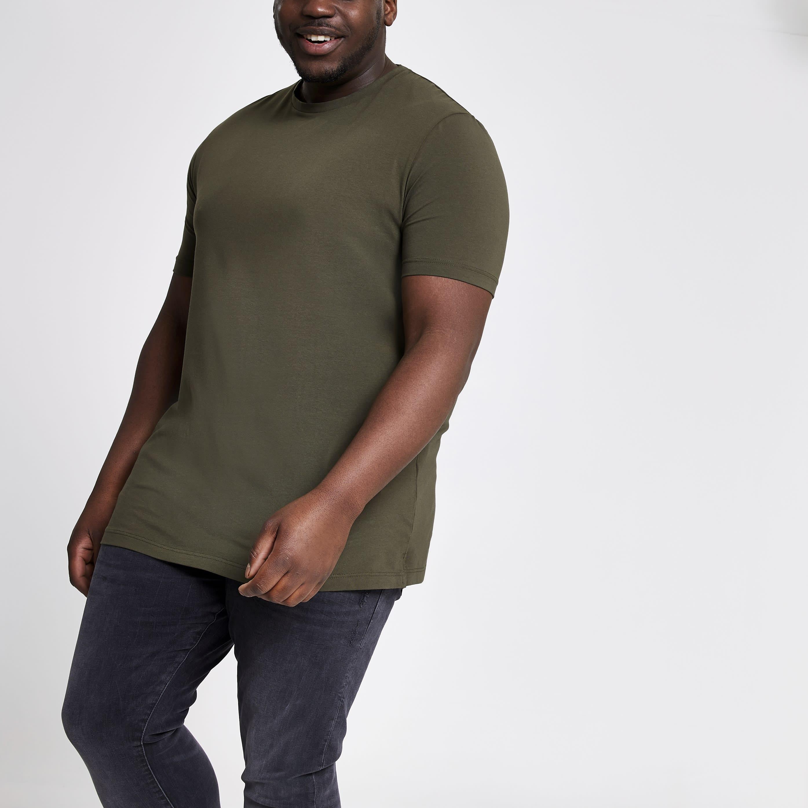 River Island Mens Big and Tall dark Green muscle fit T-shirt (XL)