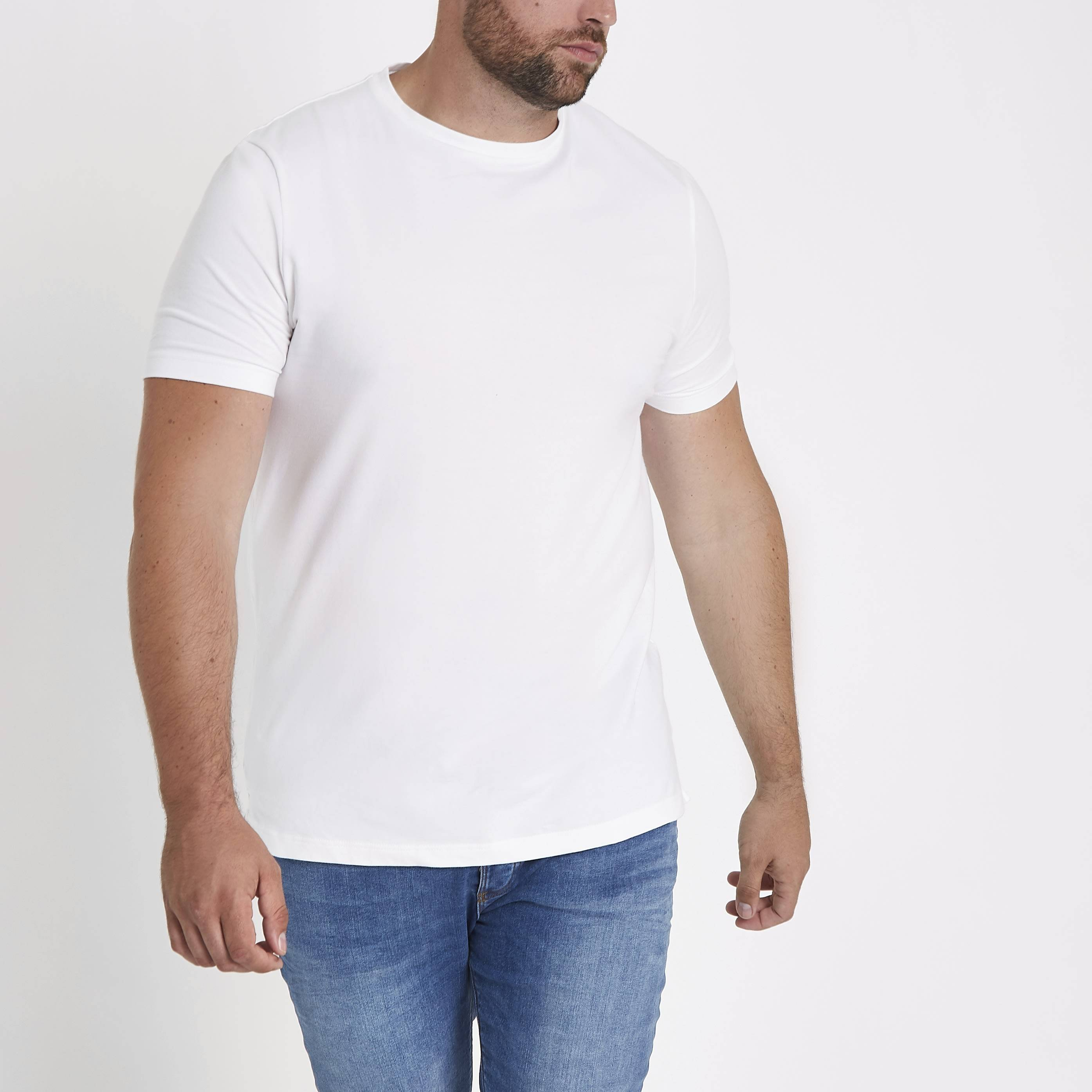 River Island Mens Big and Tall White muscle fit T-shirt (XL)