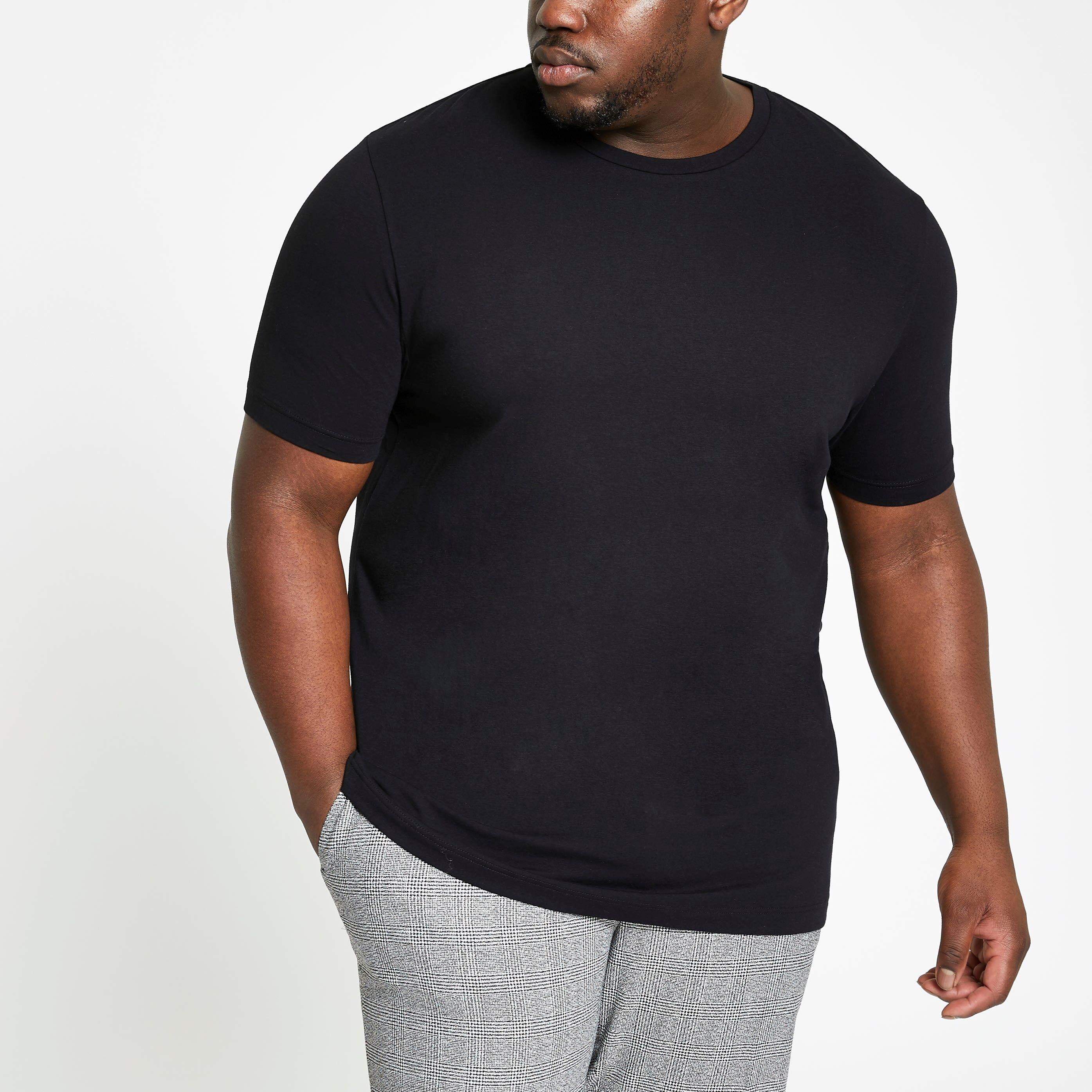 River Island Mens Big and Tall Black crew neck T-shirt (XL)