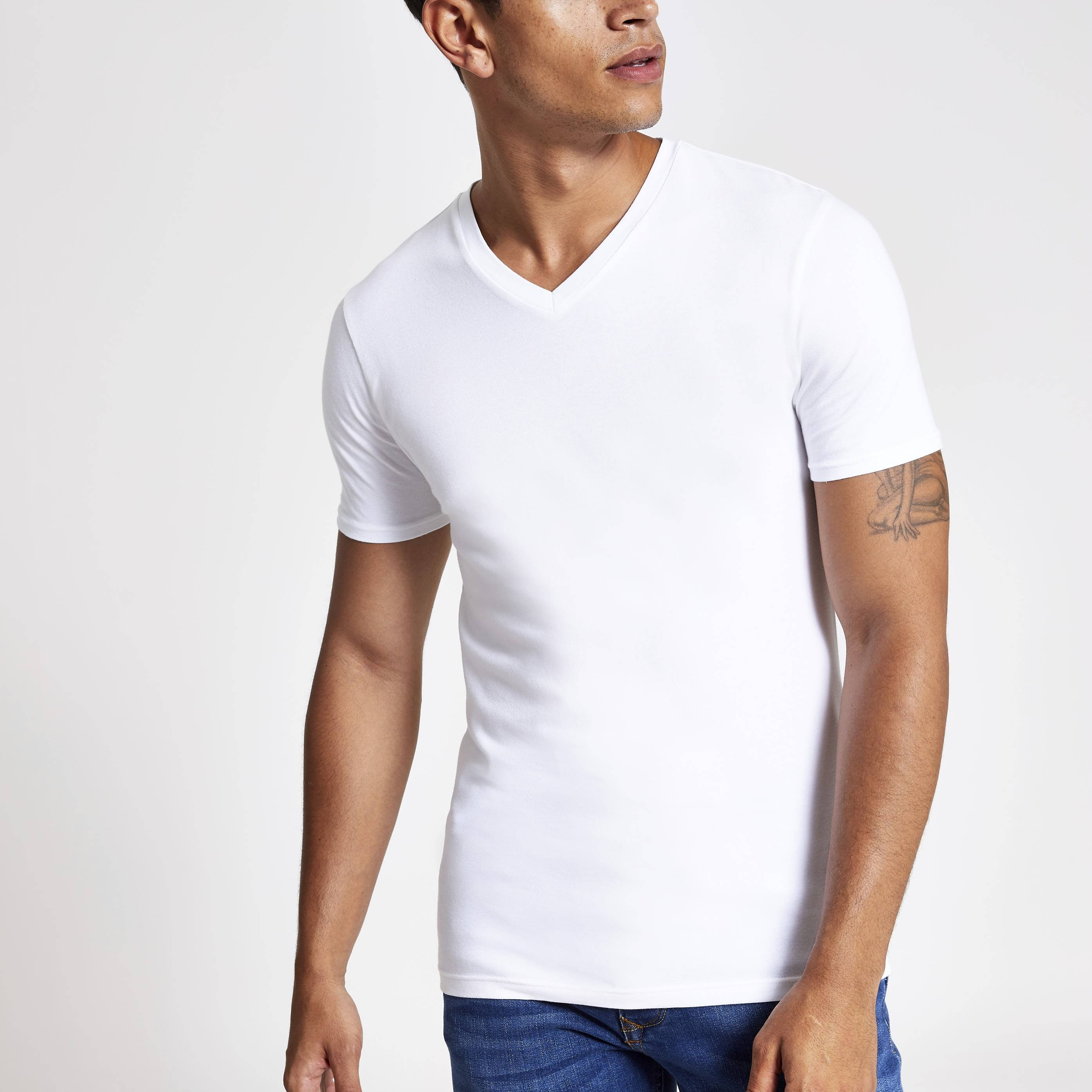 River Island Mens White muscle fit V neck T-shirt (L)