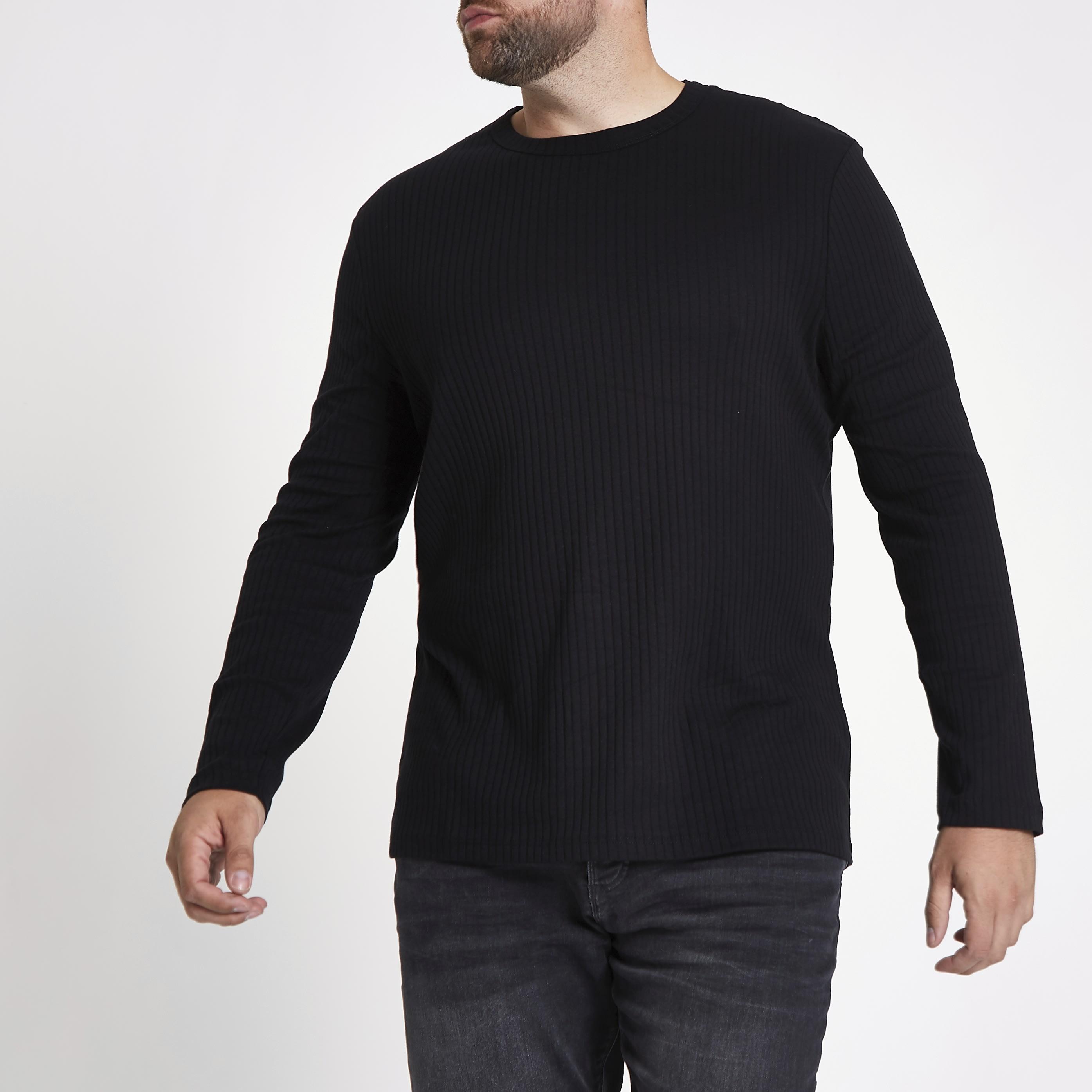 River Island Mens Big and Tall Black rib crew neck T-shirt (XXL)