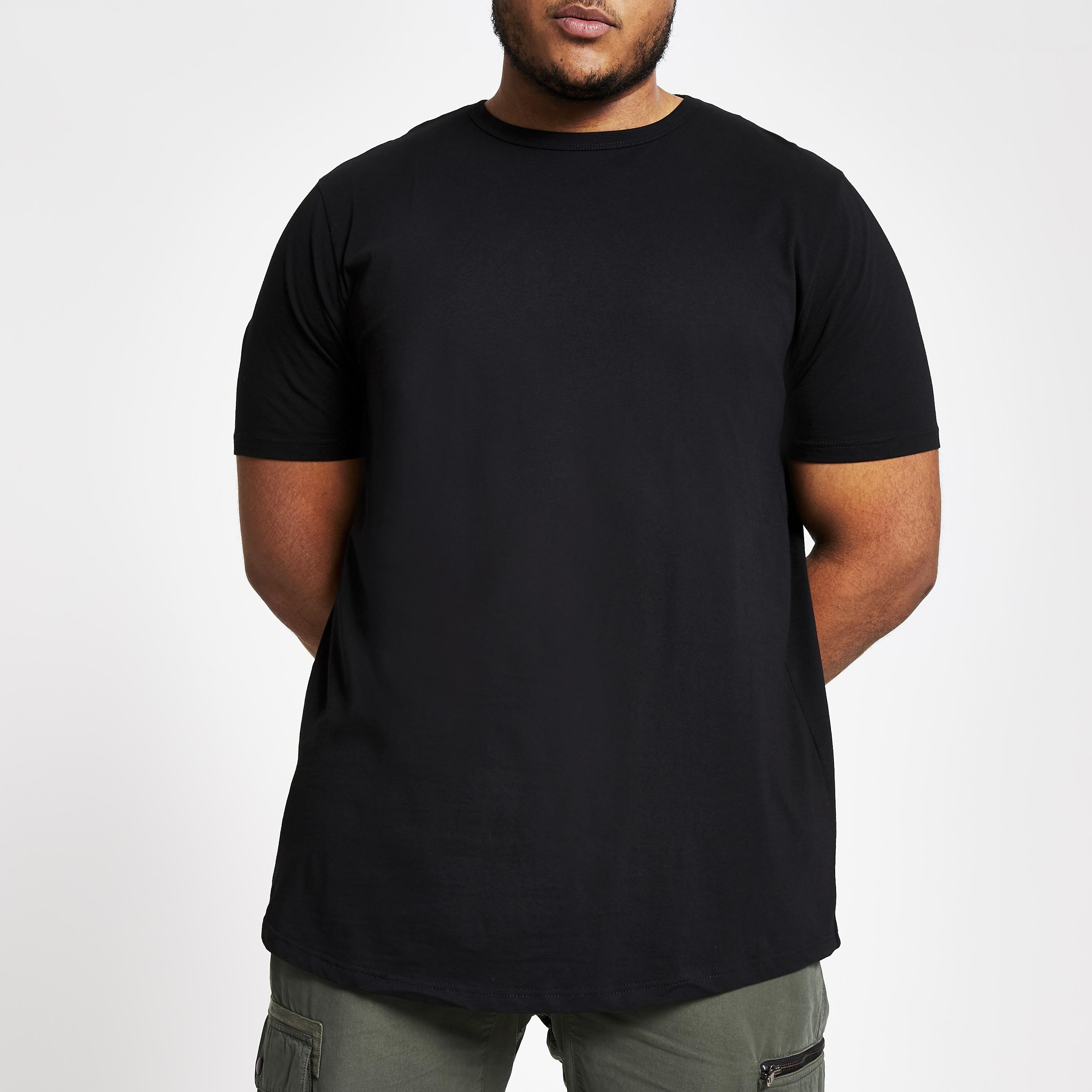 River Island Mens Big and Tall Black curved hem T-shirt (XXXXXXL)