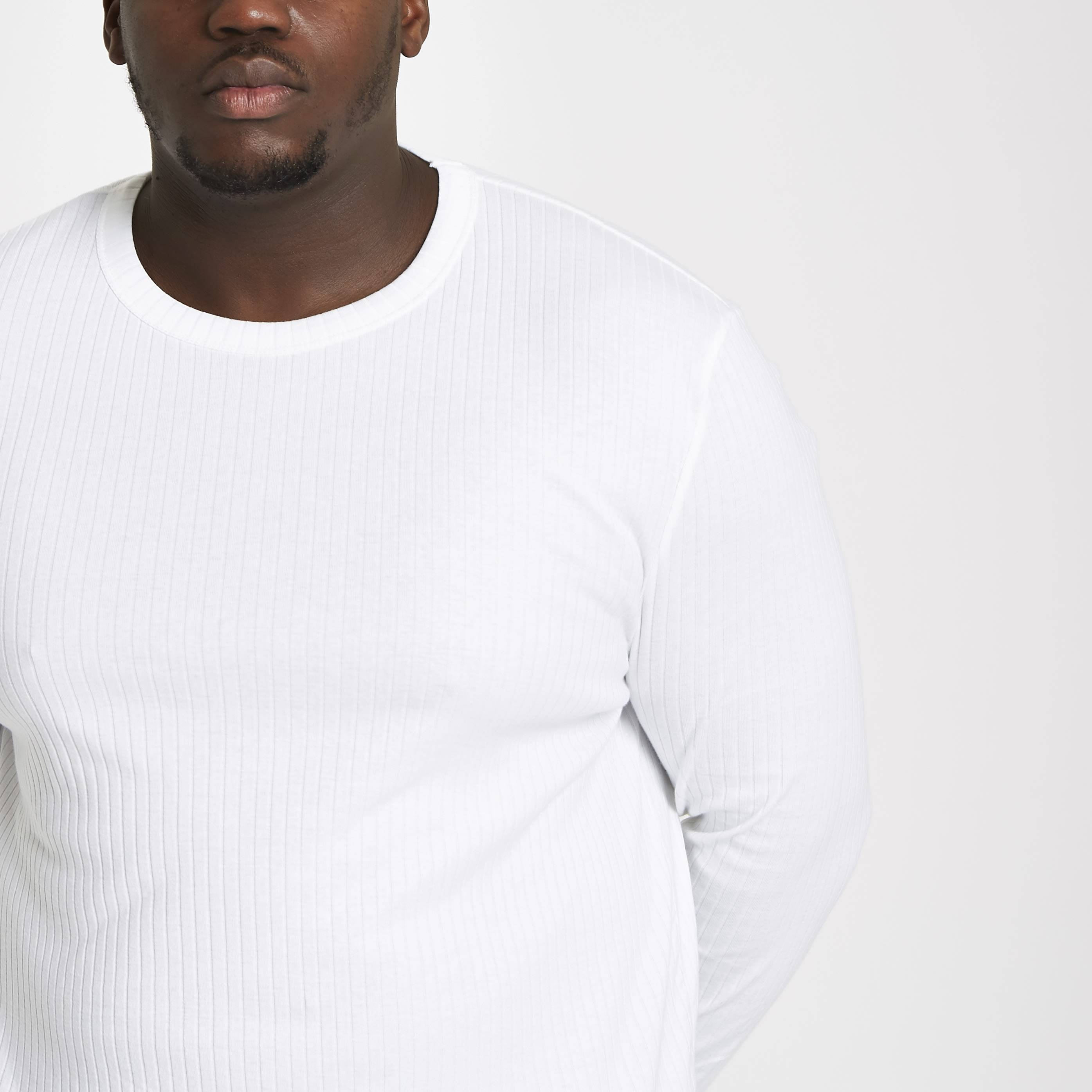 River Island Mens Big and Tall White ribbed long sleeve T-shirt (XXXXL)