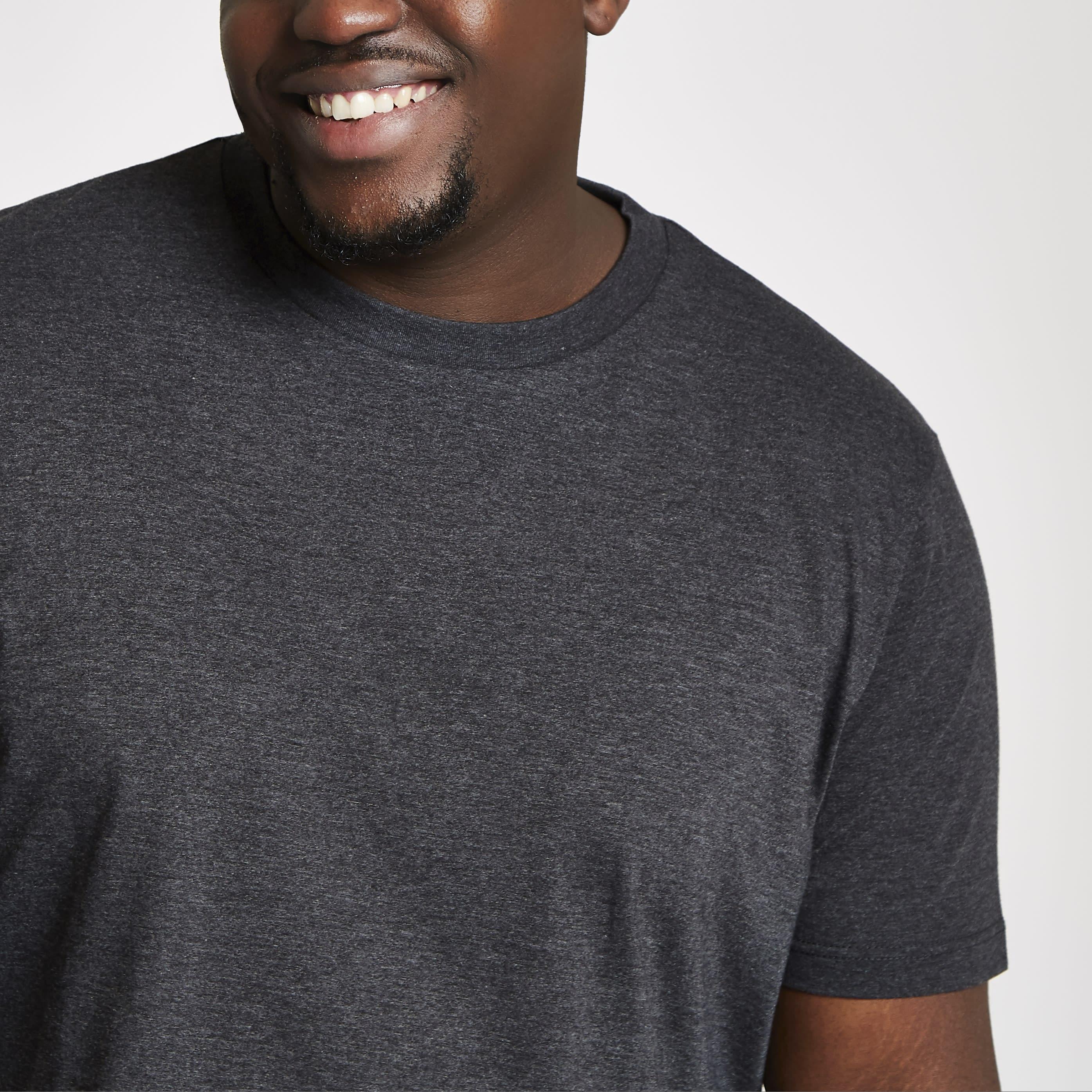 River Island Mens Big and Tall dark Grey slim fit T-shirt (XXXL)