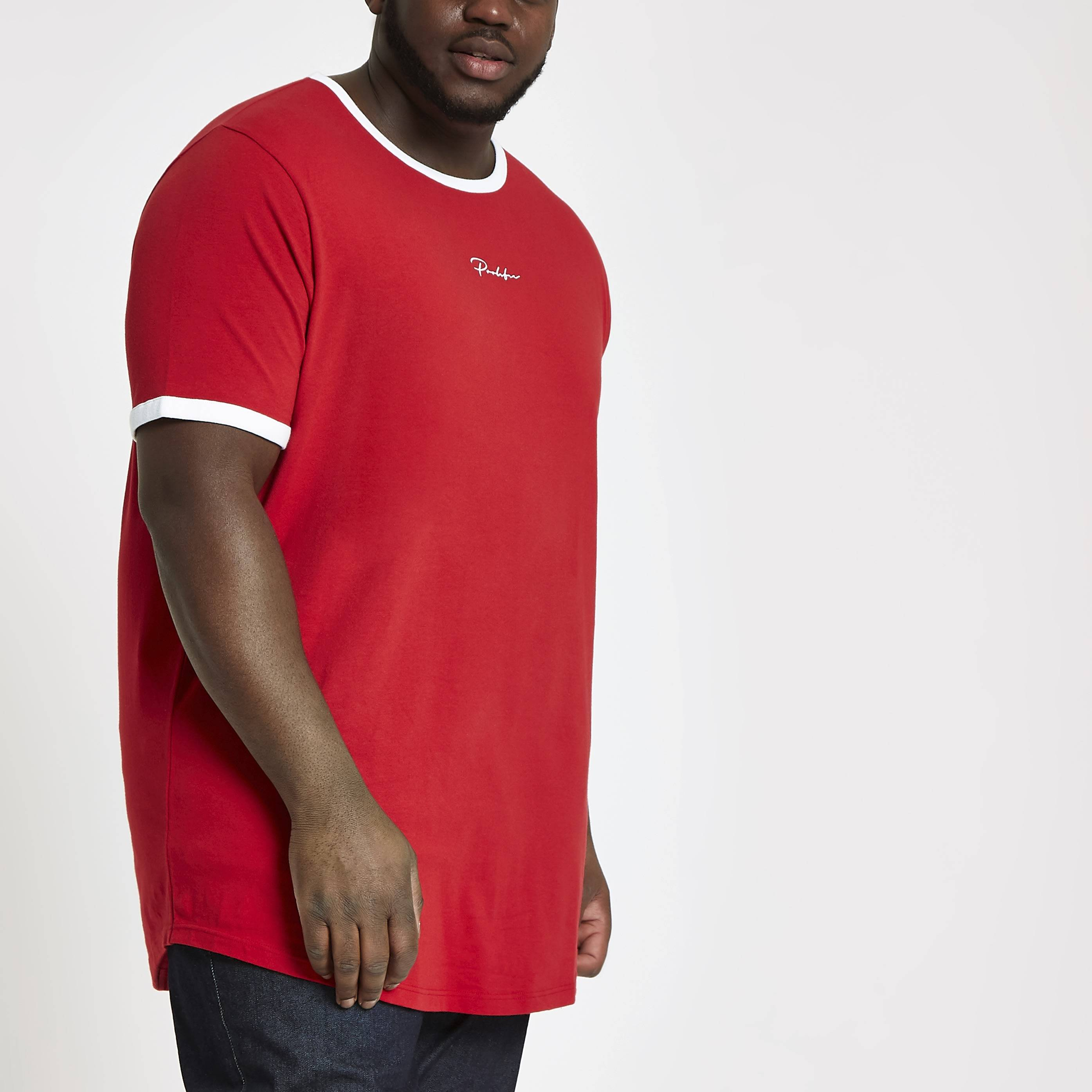 River Island Mens Big and Tall Red 'Prolific' curve T-shirt (XXXL)
