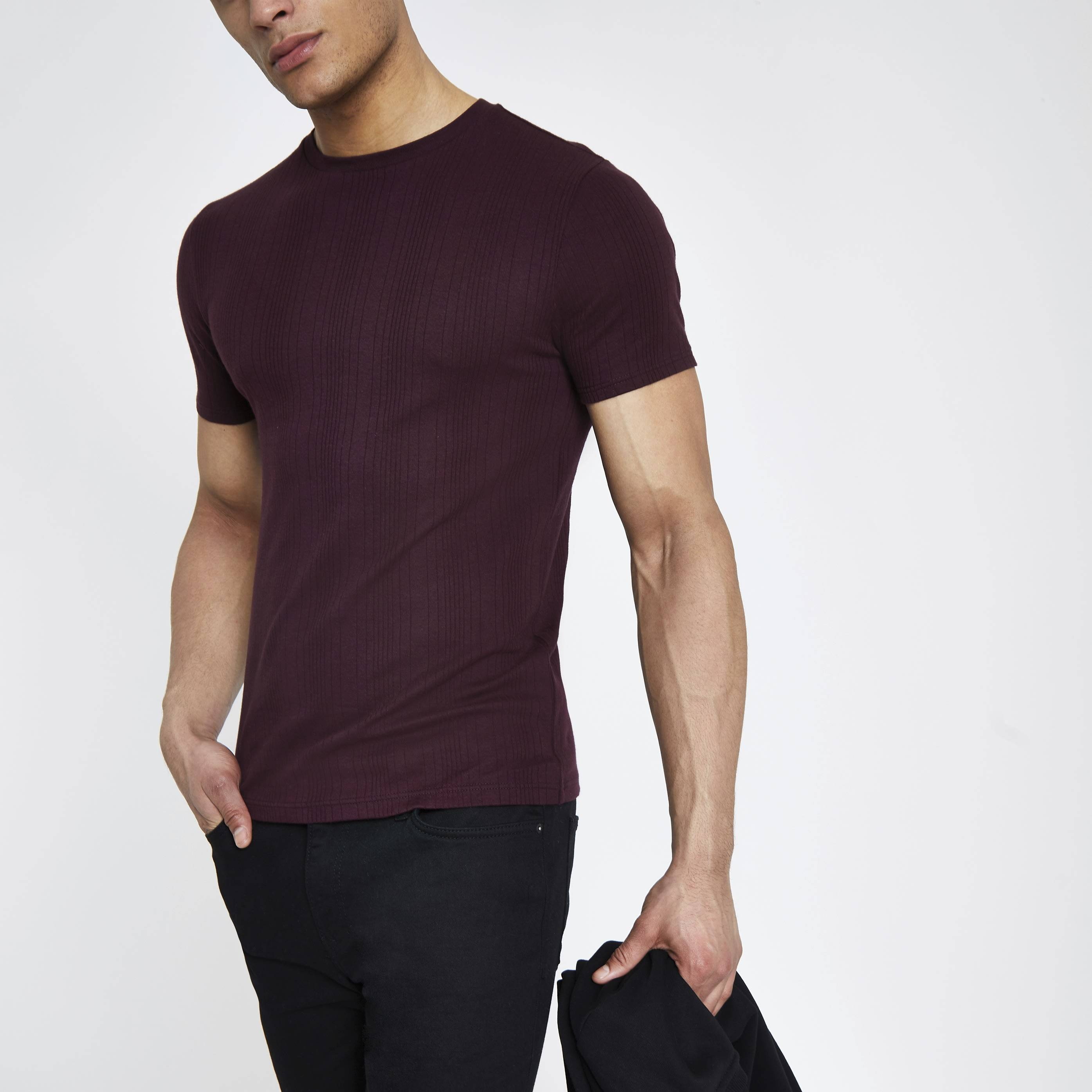 River Island Mens Dark Red ribbed muscle fit T-shirt (XXL)