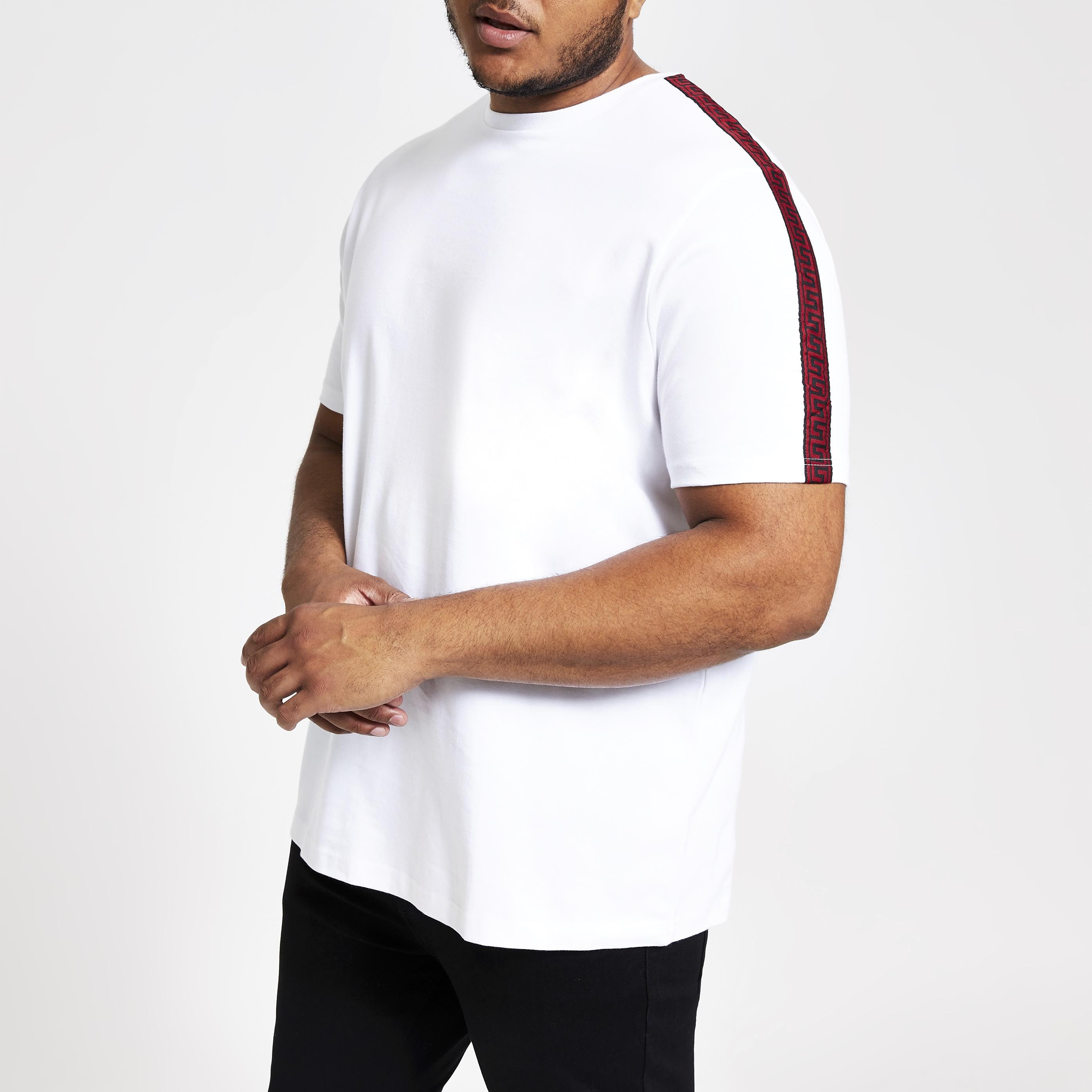 River Island Mens Big and Tall White slim fit tape T-shirt (XXXXL)