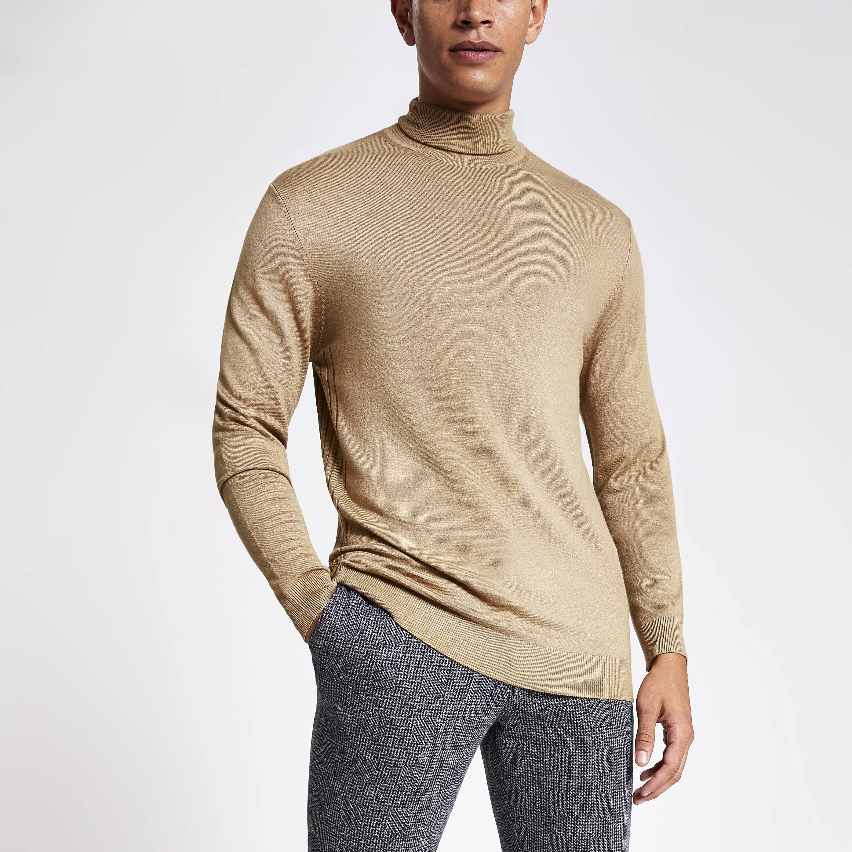 river island Mens Brown slim fit roll neck knitted jumper (XXS)