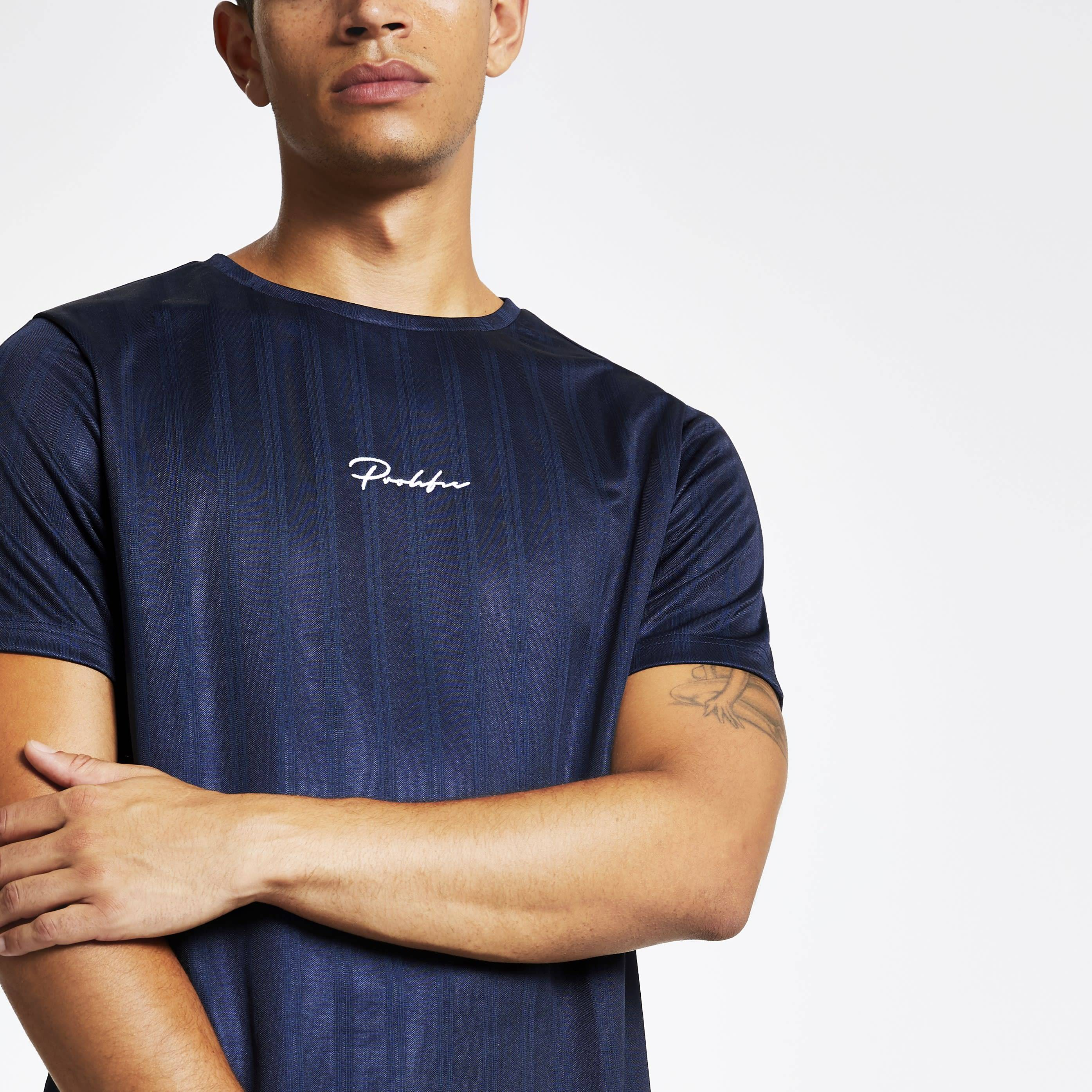 River Island Mens Navy Prolific slim fit football T-shirt (XS)