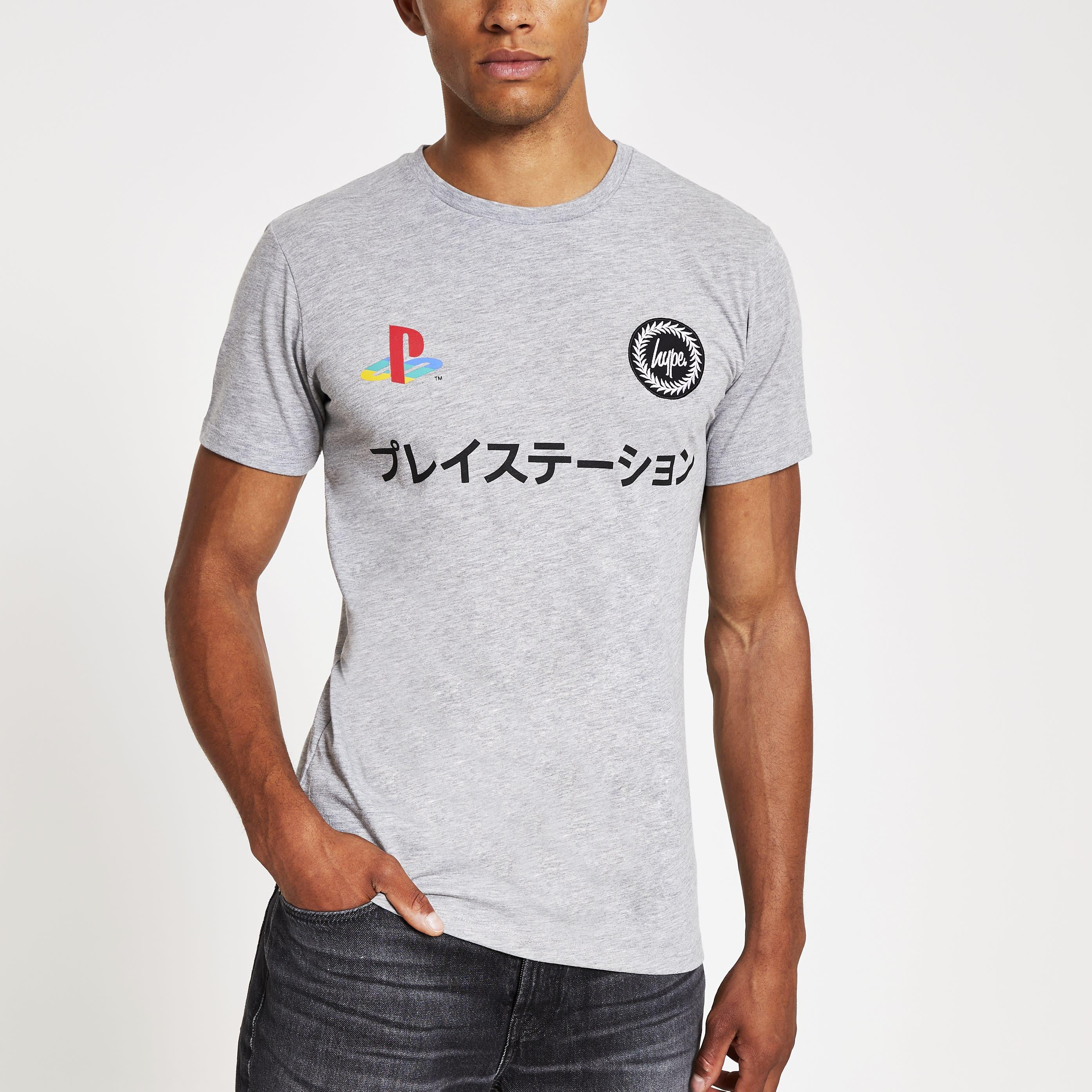 Hype Mens Hype PlayStation Grey dual logo T-shirt (L)