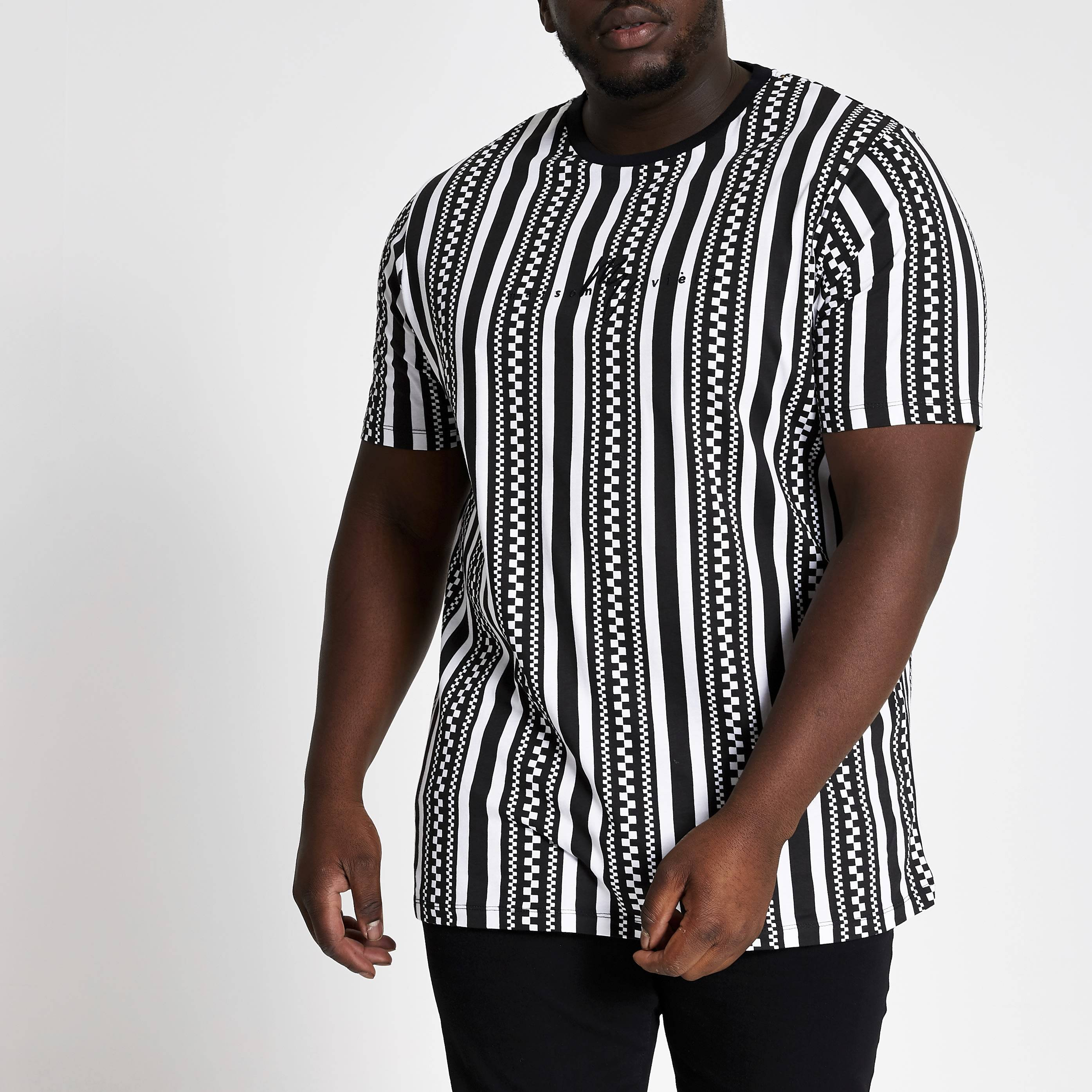 River Island Mens Big and Tall Black Maison slim fit T-shirt (XXXXXL)